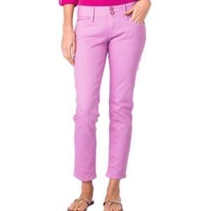 LILLY PULITZER Pink Skinny Mini Worth Crop Jeans 8